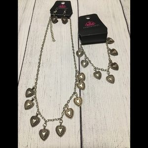 Adorable heart necklace and bracelet set